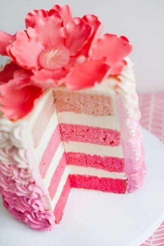 ピンクのグラデーション・スポンジケーキ
