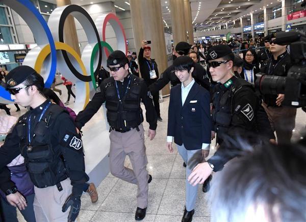 羽生結弦 平昌オリンピック スーツ 空港到着